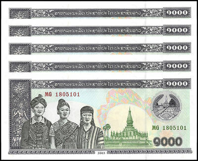 LOT Lao / Laos, 5 x 1000 Kip, 2003, P-32A, UNC > 3 Women