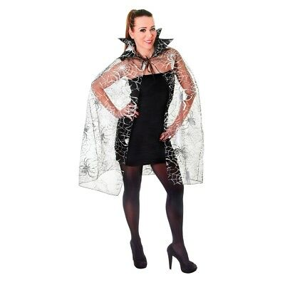 Black Adults Spider Web Cape - Halloween Fancy Dress Costume Ladies Silver