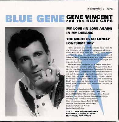 "GENE VINCENT And The Blue Caps  ""THE NIGHT IS SO LONELY / LONESOME BOY"" 4 TRACKS"