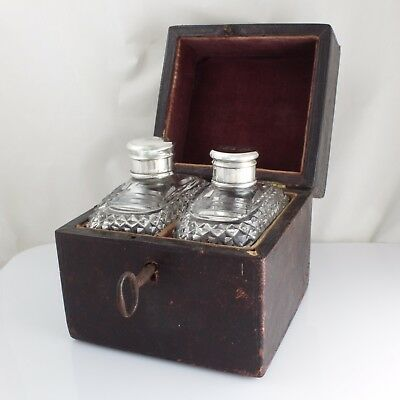 Cased Antique Edwardian Silver Top Scent Cologne Perfume Bottles Boxed