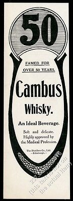 1910 Cambus Scotch Whisky vintage print ad