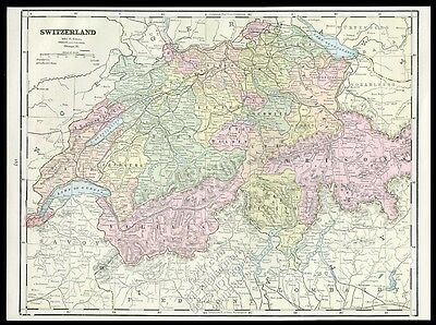 1891 Switzerland antique color map