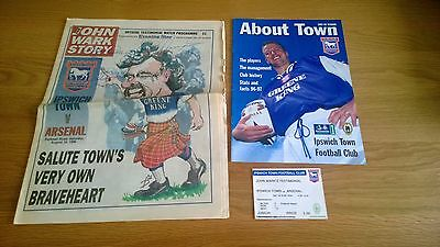 1996/97 Ipswich Town v Arsenal WARK TEST autographed + ticket and extras