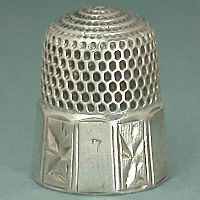 Antique Sterling Silver Panel Band Thimble by Simons Brothers * Circa 1880s