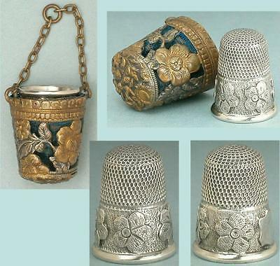 Antique English Floral Chatelaine Thimble Holder/Sterling Silver Thimble * C1890