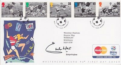 Stamp 1996 Football First Day Cover Signed England Legend Emlyn Hughes 1947-2004