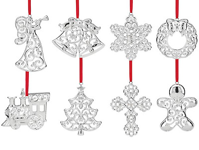 Lenox Sparkle and  Scroll Silver-plated Clear Crystal Ornament Set of 8