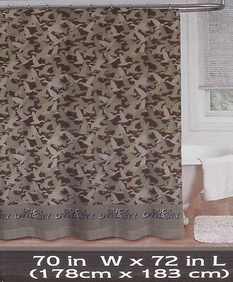 Duck Dynasty Camouflage Brown Fabric Bath Shower Curtain New.
