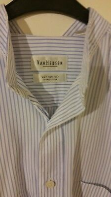 Vintage 1940's Style Vanheusen 100% Cotton Striped Granddad Shirt 17 Col 52 Ch