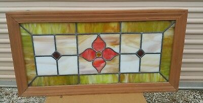 "36""x18"" Antique Art Deco Flower Stained Slag Glass Lead Window Pane In Frame"