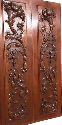 Hand Carved Wood Panel Matched Pair Antique Griffin Cornucopia Salvaged Carving