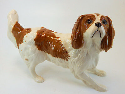 ROYAL DOULTON DOG FIGURINE, King Charles Cavalier Spaniel Dog, Brown & White, 7""