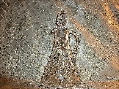 Antique Crystal Cruet Original Matching Stopper Both Marked With 7 On Bottom