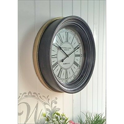 Harrogate Wall Clock - Large French Vintage Style Round Shabby Antique Lounge