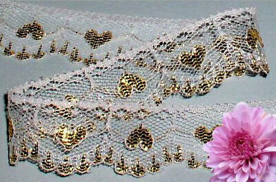"""Gold Lace Trim Hearts 1"""" Scalloped Doll Lace B12V Buy any 3 Trims Get 1 Free"""