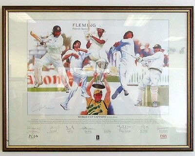 Cricket World Cup Captains by Gary Keane 214/500 -25x19 Framed Signed x 9 - £199