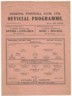 45/46 Arsenal v Dynamo Moscow Russia friendly