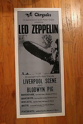 Led Zeppelin 1st UK Tour Poster 1969 2nd print Robert Plant Jimmy Page