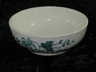 VERY OLD GREEN and WHITE PORCELAIN BOWL Floral Transfer Pattern with Relief