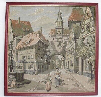 Vintage Framed Tapestry Picture Wall Hanging Village Scene Women Talking 20x20