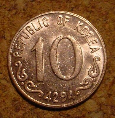 Hi Grade Unc Red 1961 10 Hwan South Korea**superb Detailed Coin