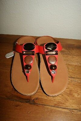 0a1d2247cdb019 New Fit Flop FitFlop Womens Jeweley Toe-Post Flame Orange Sandals US 9