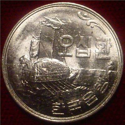 Hi Grade Bu Rare 1961 50 Hwan South Korea*ironclad Turtle Boat**superb Detaileds