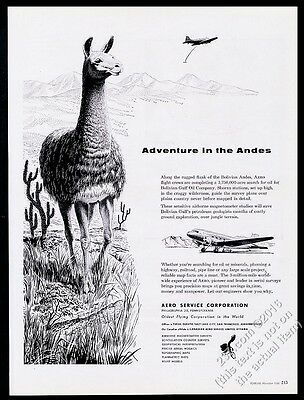 1956 llama Bolivia mountains art Aero Service Corporation vintage print ad