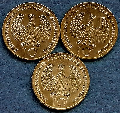 1972'D' 1972'F' & 1972'G' Germany 10 Mark Coins (15.5 Grams .625 Silver Each)