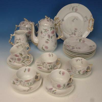 B&R Limoges France - Flowers - 22 Pc Coffee Set - Pot, Cups, Cake Plate, Plates