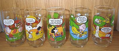 McDonalds Peanuts Camp Snoopy Collection Tumblers Glasses Complete Set of 5