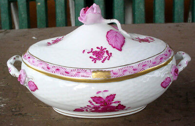 Exquisite Oval Herend Hungry Porcelain Covered Dish W/ Handles 6010 N/r