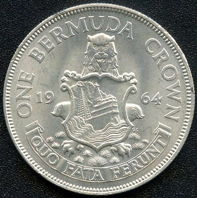 1964 Bermuda 1 Crown Silver Coin (22.62 Grams .500 Silver)