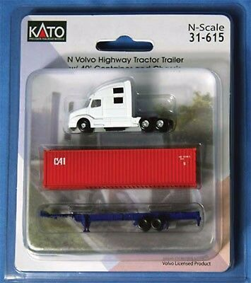 Kato 31-615  N WHITE Volvo Highway Tractor Trailer w/ 40' Container & Chassis