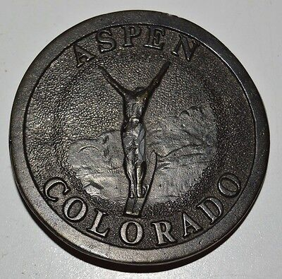 Vintage 1973 ASPEN Colorado James Lind Skiing SKI Jump Solid LARGE Belt Buckle