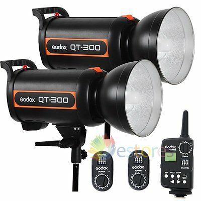 2Pcs Godox QT-300 600W High Speed Studio Strobe Flash Head 220V + FT-16 Trigger