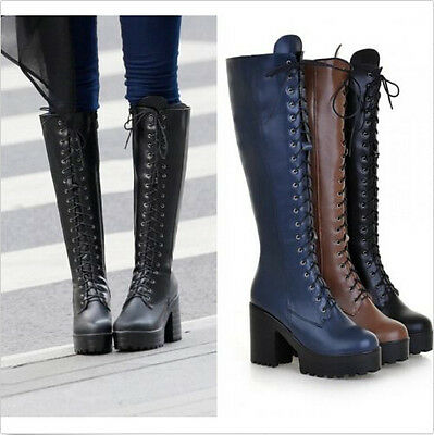 44cb0d4f6c57 Womens Punk Lace Up Chunky Heel Platform Block Knee High Boots Shoes Plus  Size