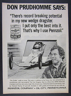 1971 Don Prudhomme Wedge Dragster photo Pennzoil Oil vintage print Ad