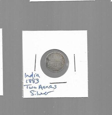 pk31075:India Silver Coin - 1883 Victoria Empress Two Annas