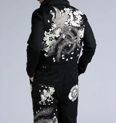 Mens Japanese Pattern Embroidered Coveralls Overalls Working Suit Phoenix Tattoo