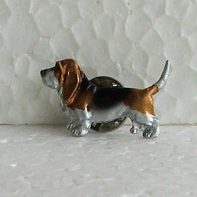 Basset Hound Tricolour Lapel Pin Dog Breed Jewellery Handpainted Handcrafted