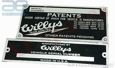 New Jeep Willys Vehicle Serial Number Data Patents Plate @cad