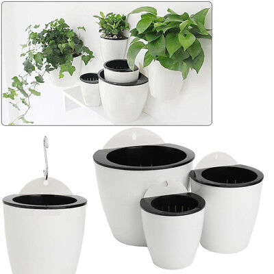 Self-watering Plant Flower Pot Wall Hanging Plastic Planter House Garden Cute