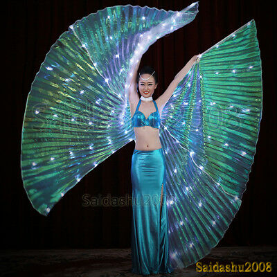 LED isis wings belly dance glow show cosplay light up costume include sticks bag