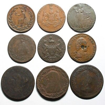 18Th & 19Th Century Great Britain Copper 1D Penny & 1/2D Halfpenny Tokens Coins