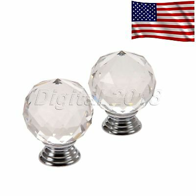 Ball Shaped Knob Clear Crystal Glass 40mm Pull Door Cabinet Drawer Box Handle