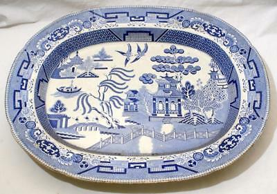 Antique Early 19th C Willow Pattern Blue & White Large Turkey Platter Charger
