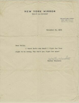 Interesting 1956 Walter Winchell Typed & Signed Letter About Radio & Rights