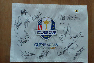 RARE Team Europe Signed 2014 Gleneagles Ryder Cup Golf Flag Autograph AFTAL COA