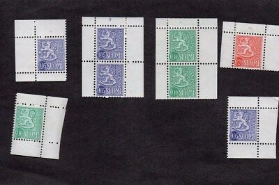 FINLAND.1963.6x BOOKLET/COIL STAMPS. 4 WITH PLATE NUMBERS. M.N.H.